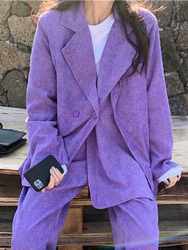 Purple Corduroy Buttoned Blazer - Purple L