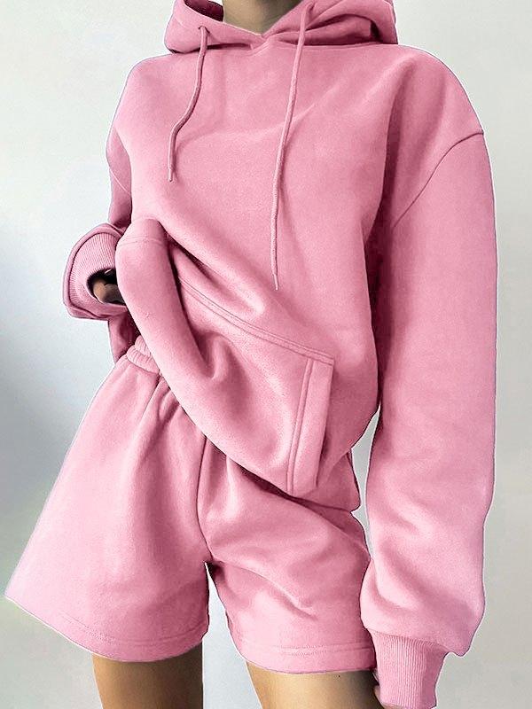 Basic Long Sleeve Tracksuit Set - Pink L
