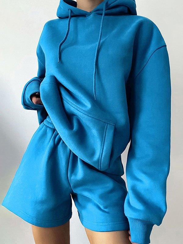 Basic Long Sleeve Tracksuit Set - Blue L