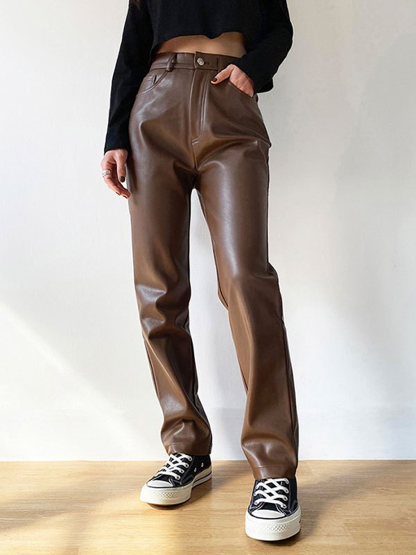 Slim Straight Pu Leather Pants - Brown M