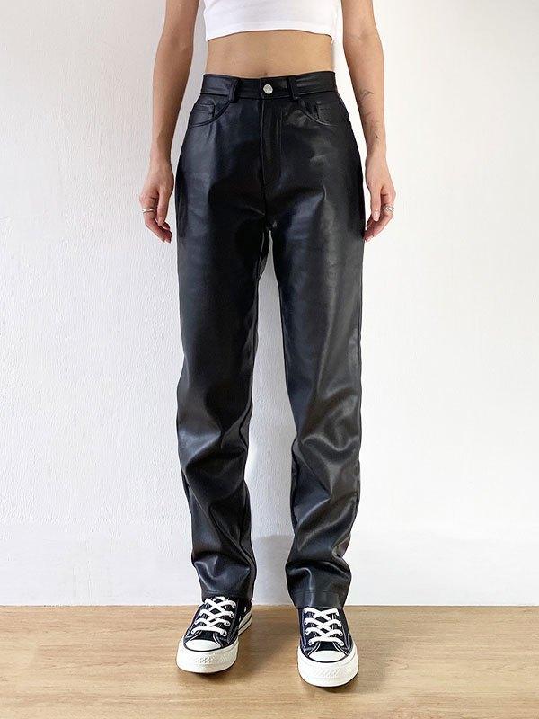 Slim Straight Pu Leather Pants - Black M