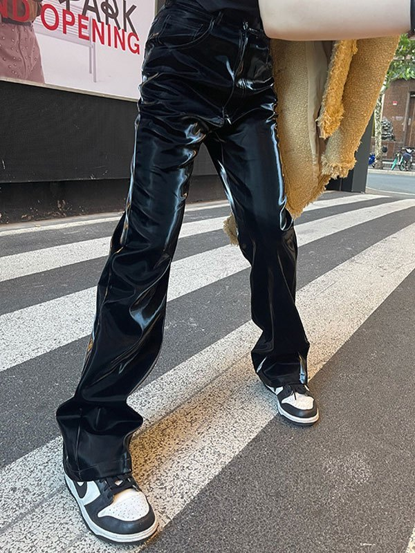 High Waist Patent Leather Pants - Black L