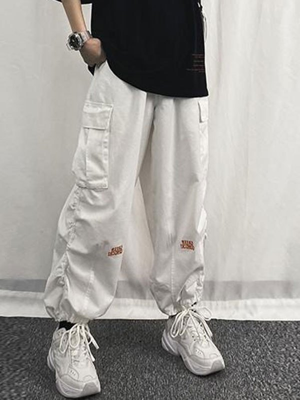Letter Embroidery Pocket Cargo Pants - White S
