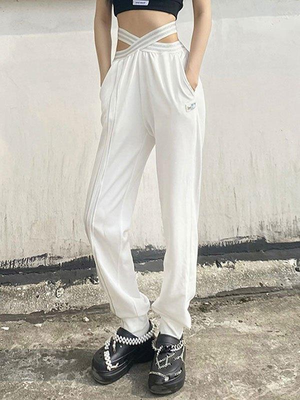 Cross Over Cutout Jogger Pants - White L