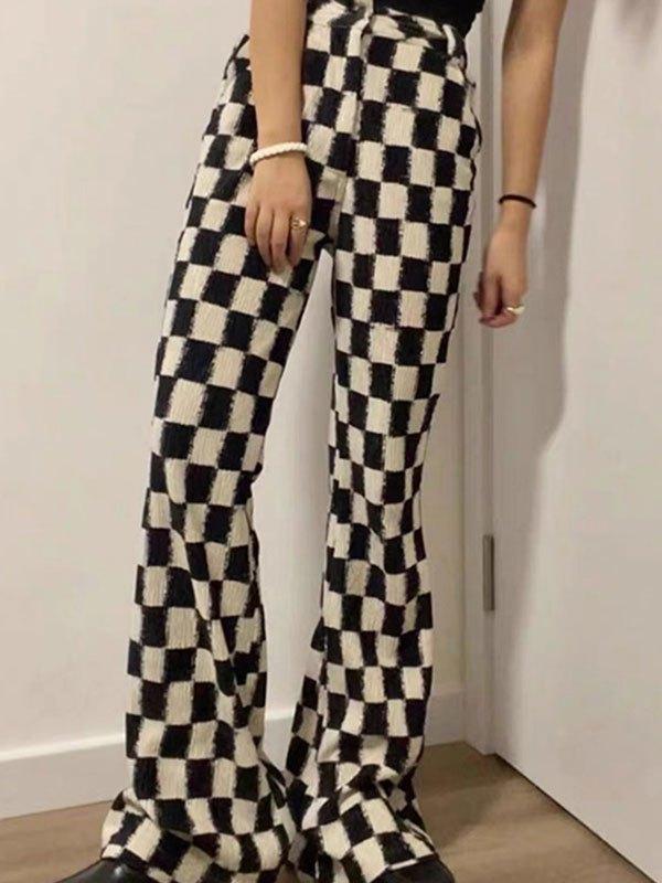 Crepe Checkered Flare Leg Pants - Black L