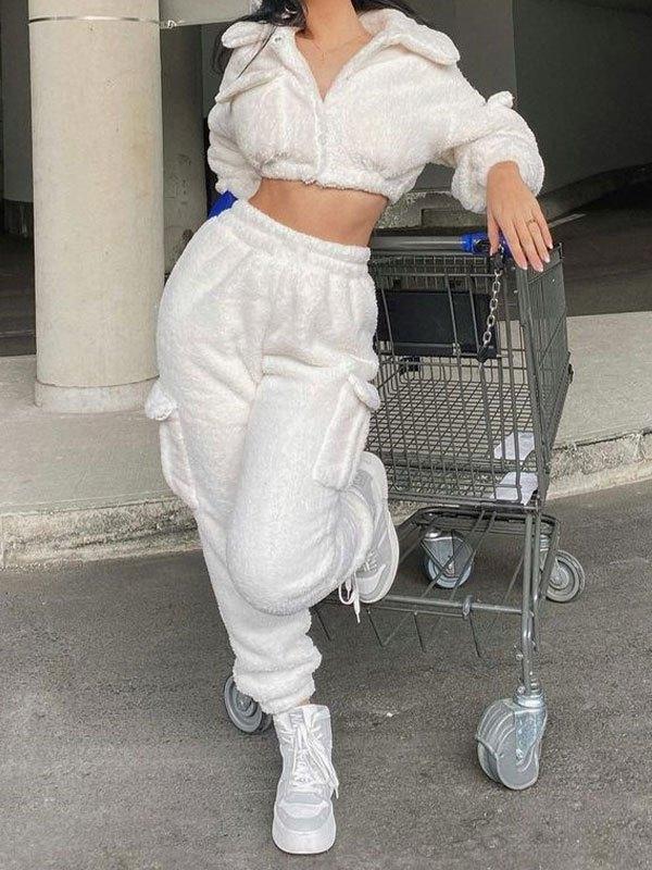 Fleece Pocket Long Sleeve Set - White S