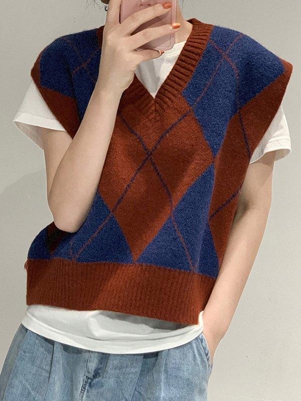 V Neck Argyle Crop Sweater Vest - Brown ONE SIZE