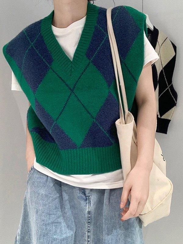 V Neck Argyle Crop Sweater Vest - Green ONE SIZE