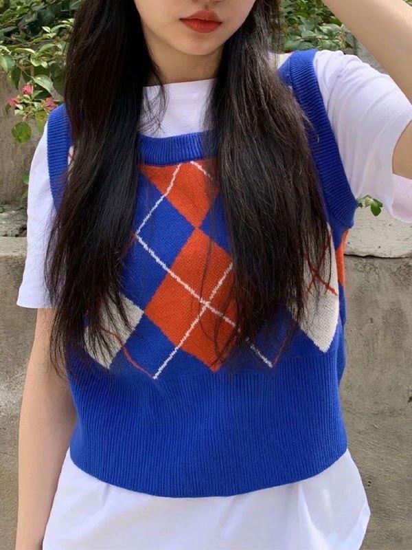 Vintage Argyle Crop Sweater Vest - Blue ONE SIZE