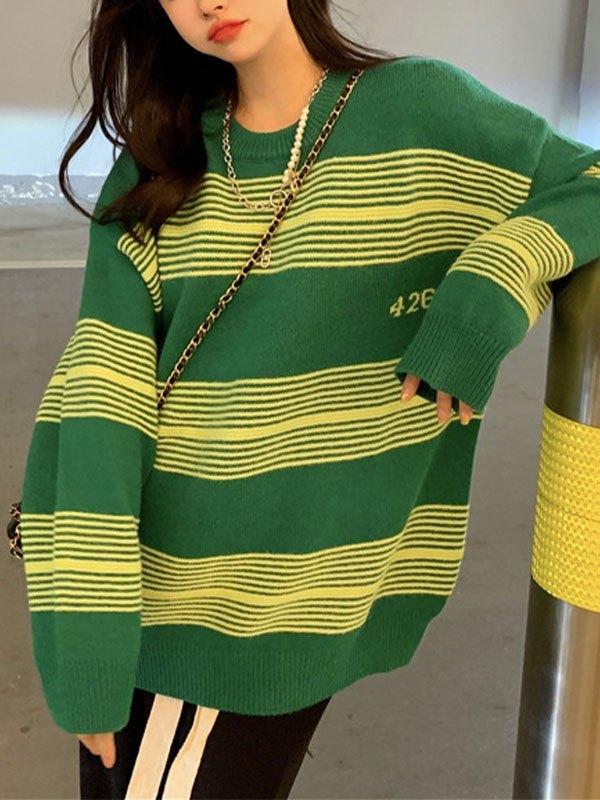 Oversized Stripe Knit Sweater - Green ONE SIZE