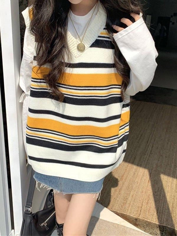 V Neck Striped Knit Sweater Vest - Yellow ONE SIZE