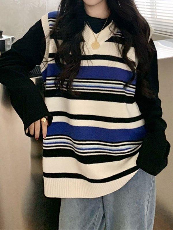 V Neck Striped Knit Sweater Vest - Blue ONE SIZE