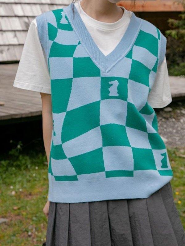 V Neck Checkered Sweater Vest - Green ONE SIZE