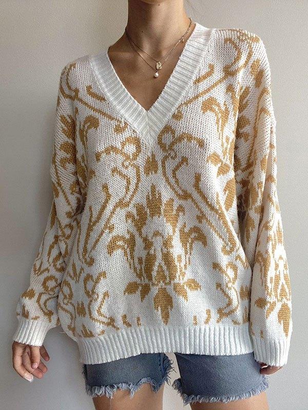 Oversize V Neck Patterned Sweater - Apricot M