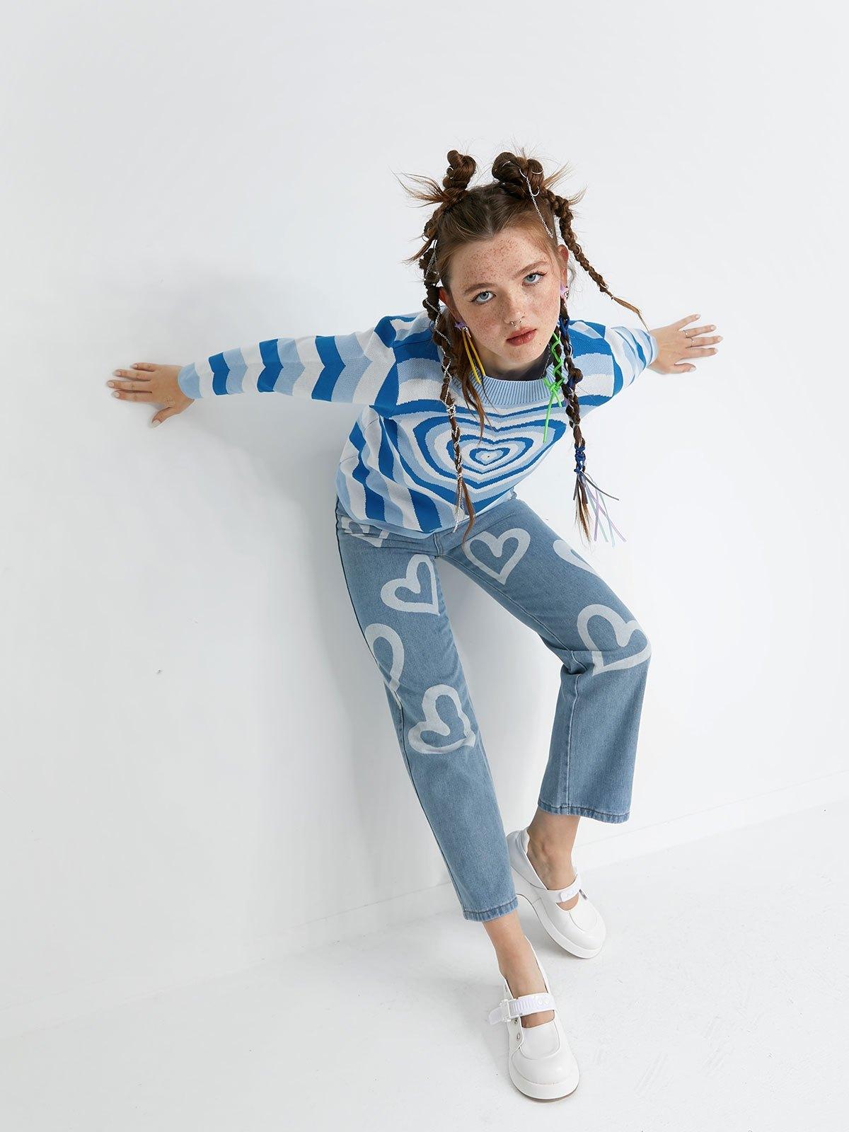 Heart Jacquard Argyle Jumper Sweater - Blue L