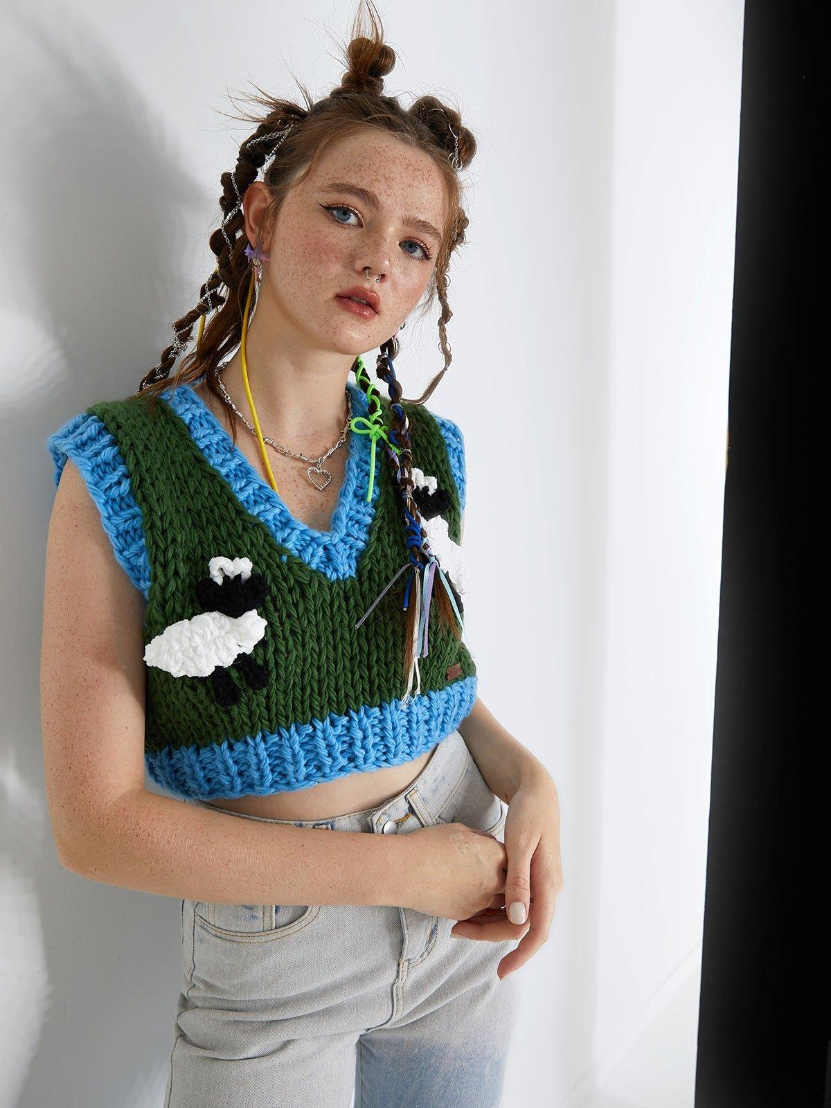 V Neck Sheep Crop Sweater Vest - Green ONE SIZE