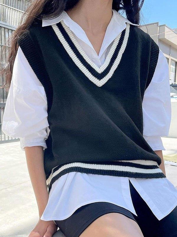 V Neck Contrast Stripe Sweater Vest - Black S