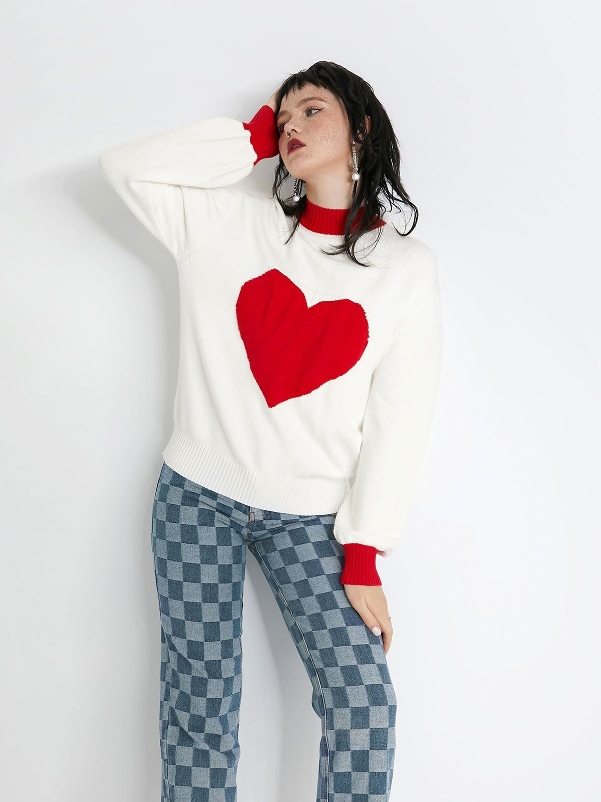 Heart Jacquard Knit Sweater - White S