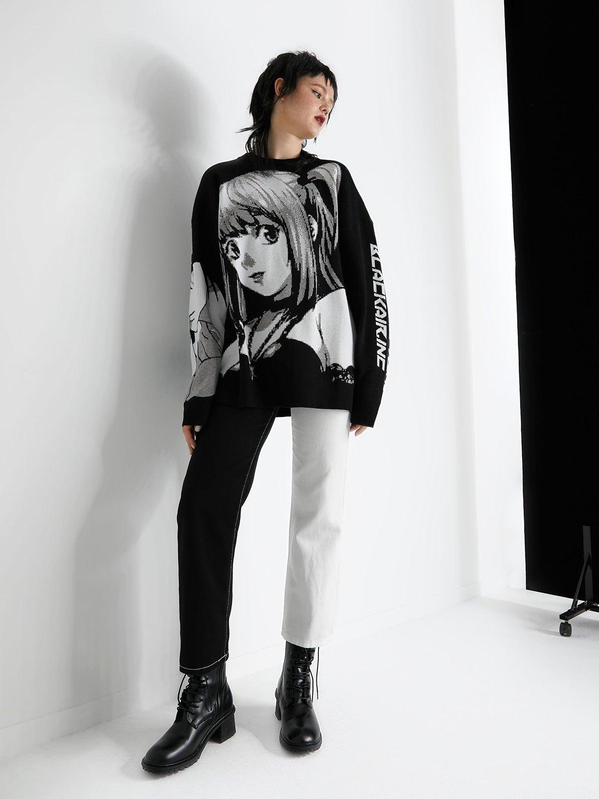Anime Pattern Knit Sweater - Black M