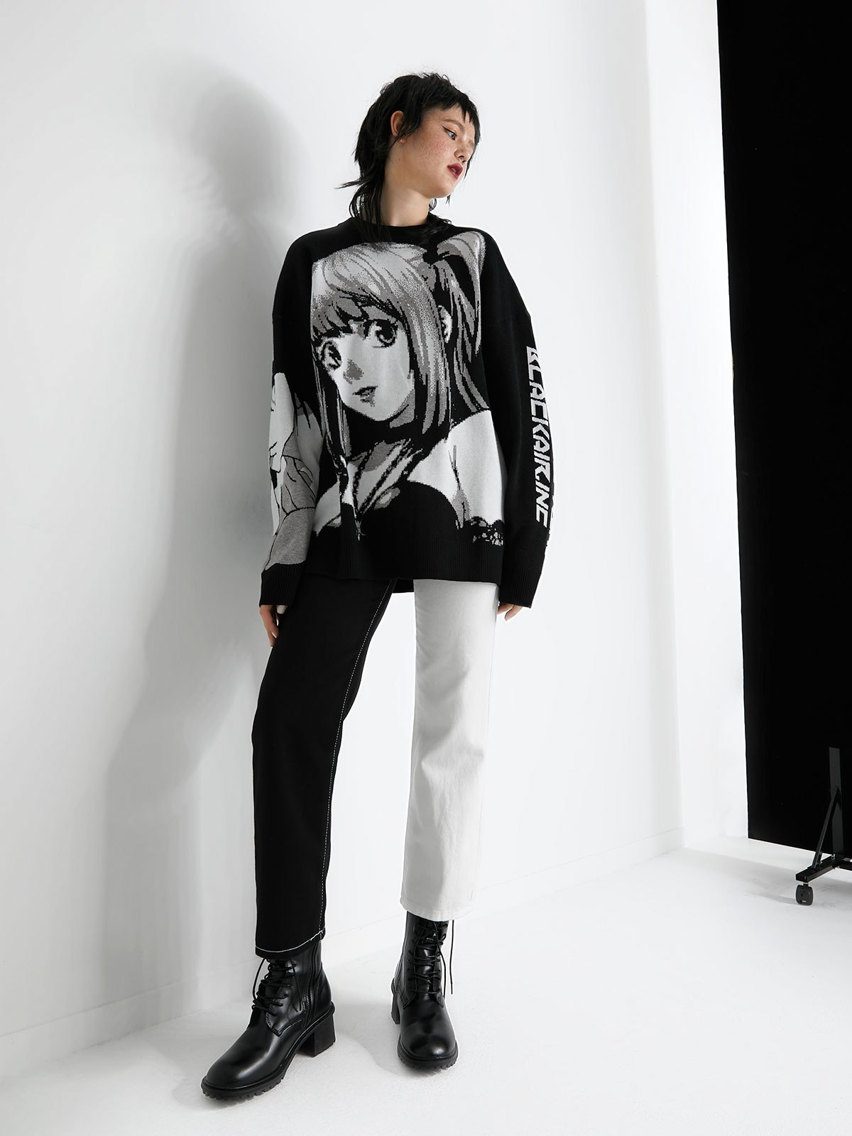 Anime Pattern Knit Sweater - Black L