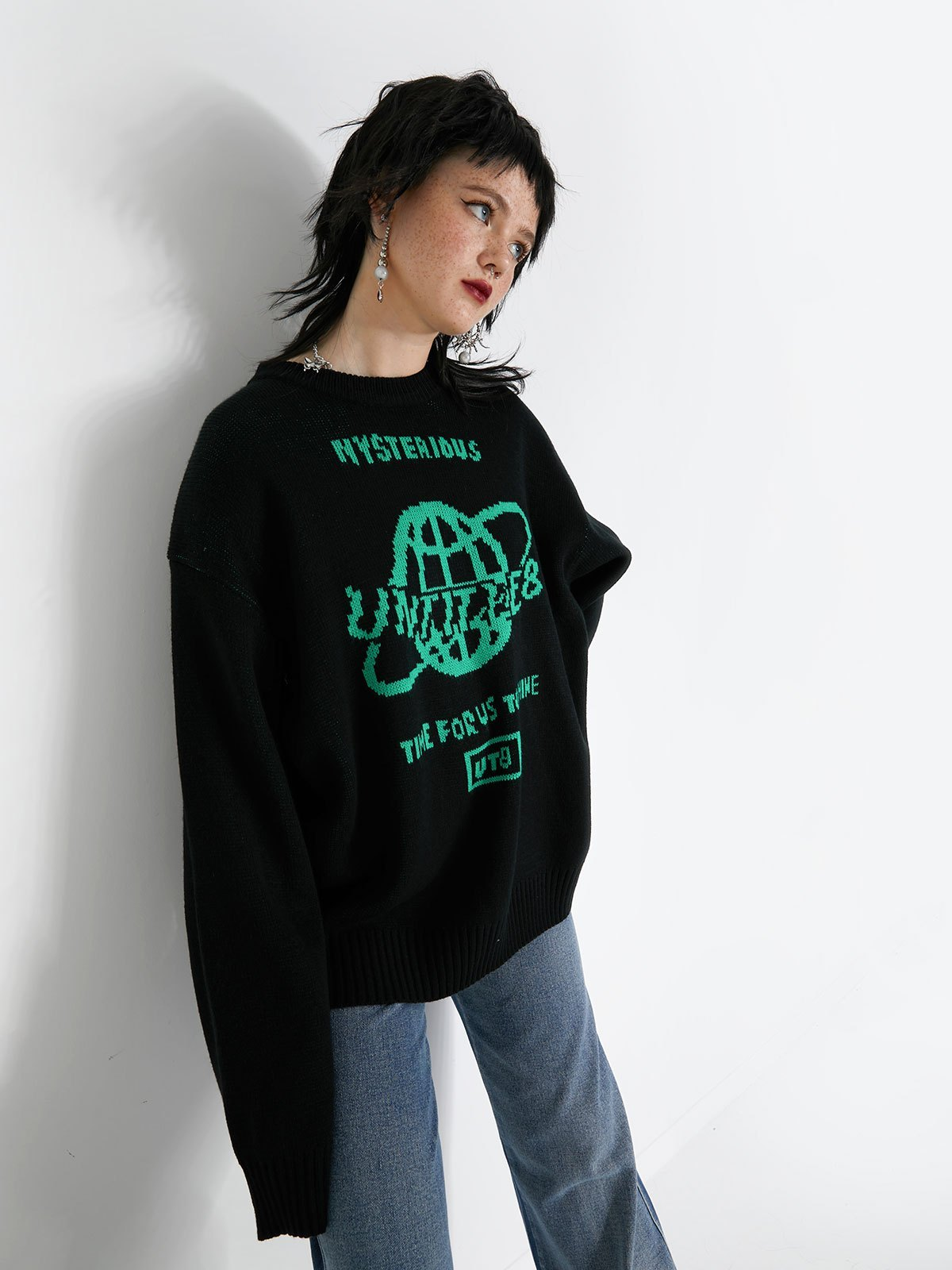 Oversized Mysterious Universe Sweater - Black ONE SIZE