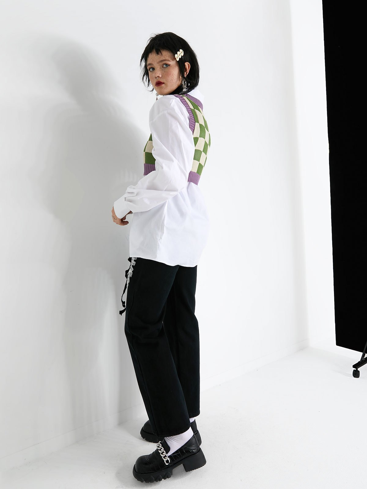 Checkered Crop Sweater Vest - Green S