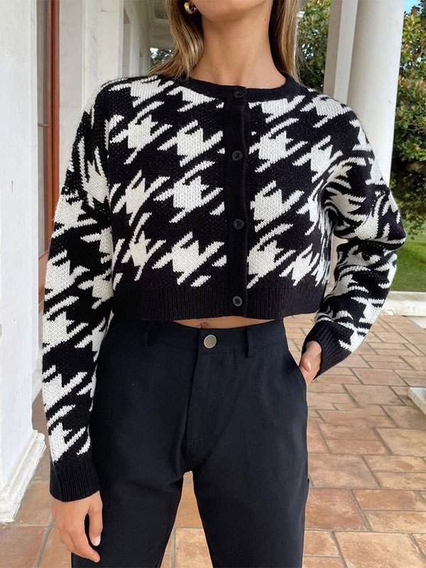 Cropped Houndstooth Knit Cardigan - Black L