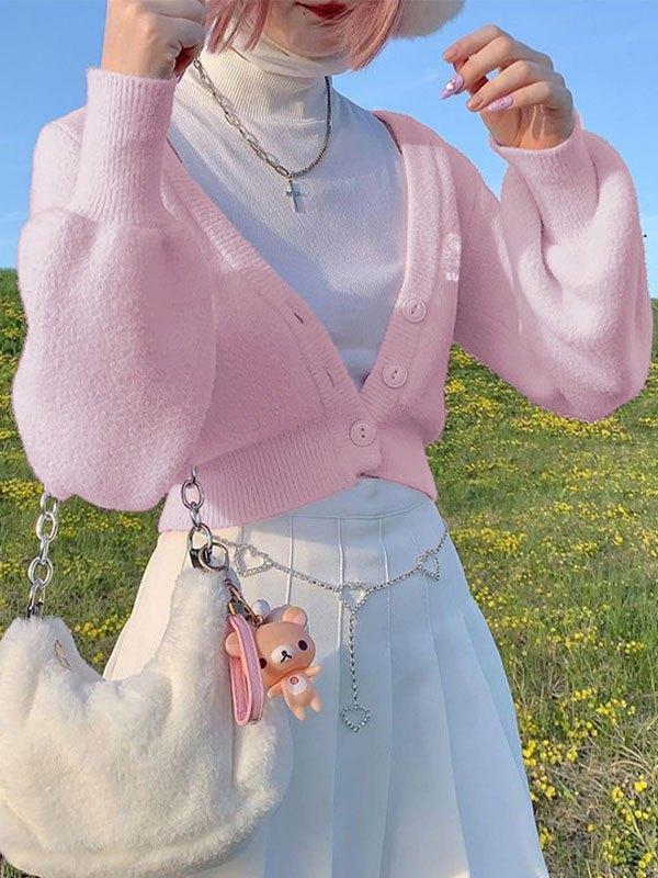 V Neck Cropped Knit Cardigan - Pink M