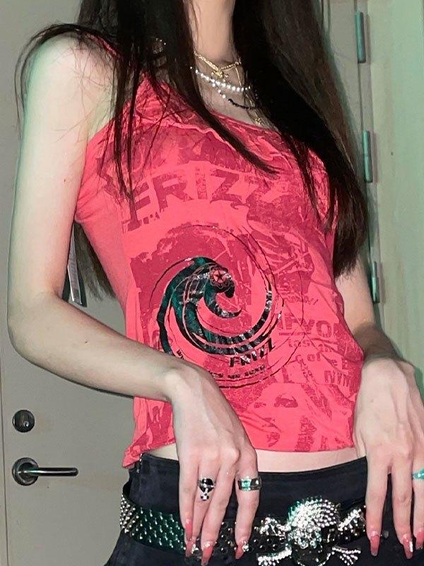 Ruffle Trim Printed Crop Cami Top - Red M