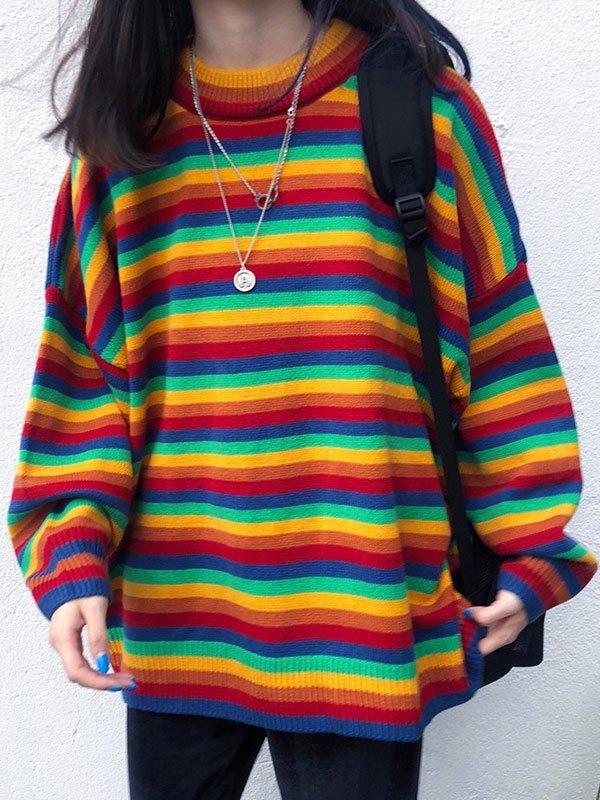 Crew Neck Rainbow Striped Sweater - multicolorple Colors ONE SIZE
