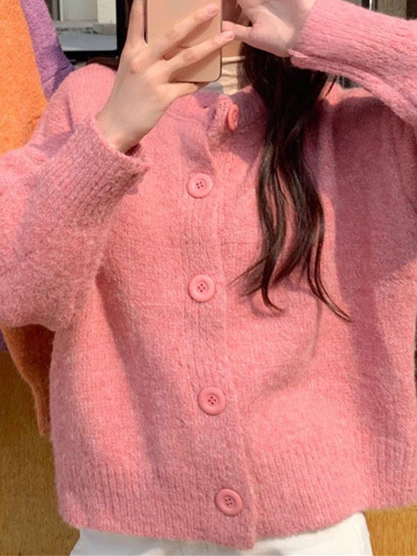 Basic Button Knit Cardigan - Pink ONE SIZE