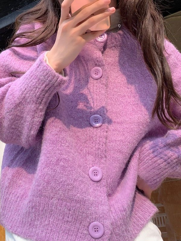Basic Button Knit Cardigan - Lilac ONE SIZE