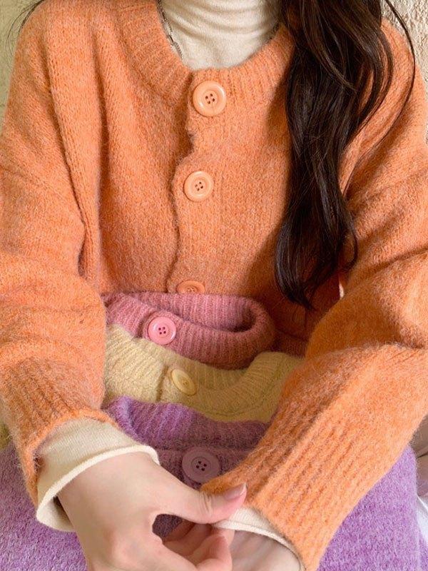 Basic Button Knit Cardigan - Orange ONE SIZE