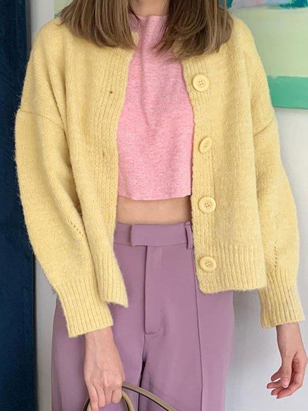 Basic Button Knit Cardigan - Yellow ONE SIZE