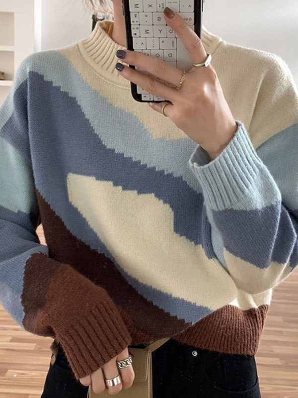 Lakeside Jumper Knit Sweater - Blue ONE SIZE