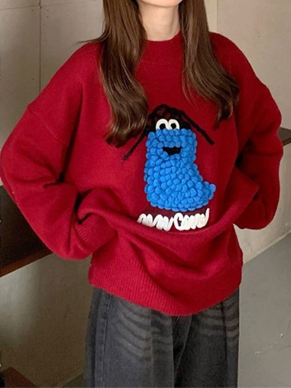 Cartoon Embroidery Crew Sweater - Red ONE SIZE