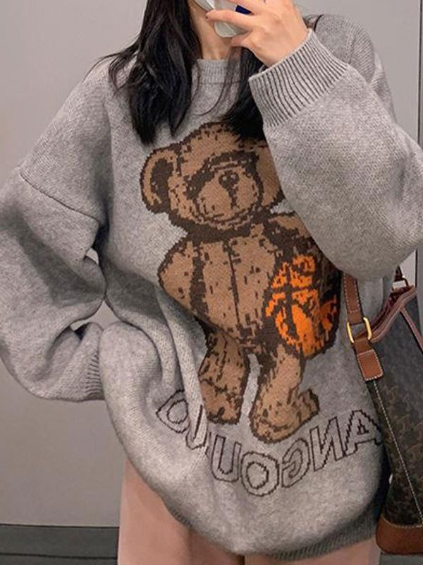 Rugby Bear Knit Sweater - Gray ONE SIZE