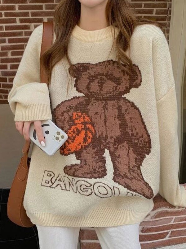 Rugby Bear Knit Sweater - Apricot ONE SIZE
