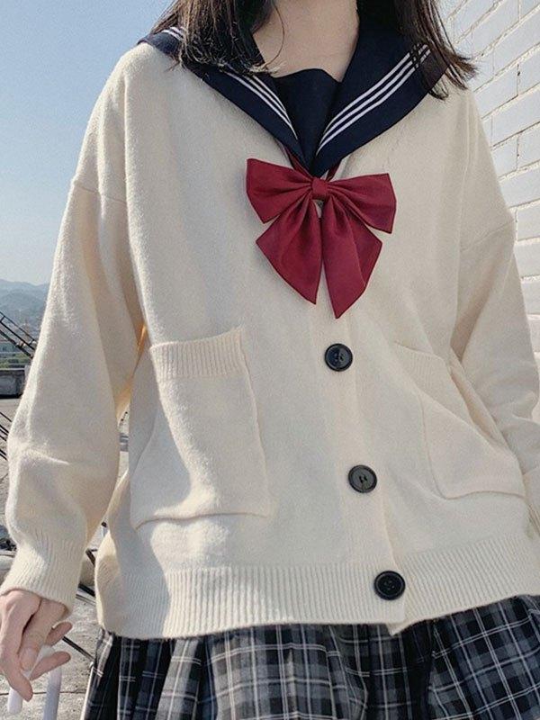 Preppy Style Oversize Knit Cardigan - White ONE SIZE