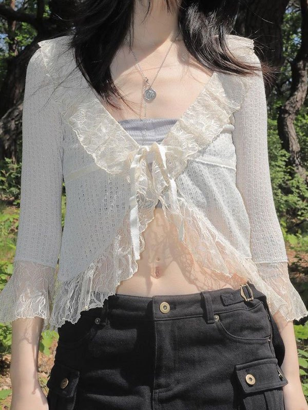 V Neck Ruffle Lace Crop Blouse - White ONE SIZE