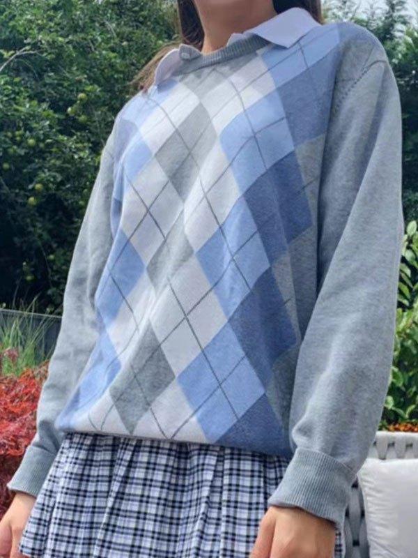 Crew Neck Argyle Sweater - Gray L