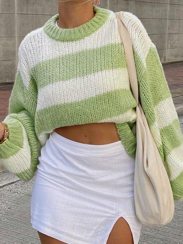Crew Neck Striped Sweater - Green S