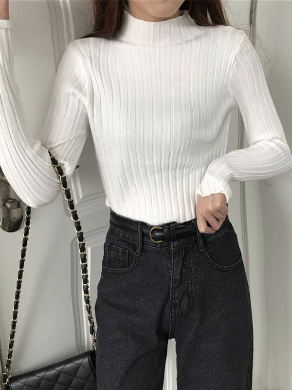 Basic Rib Knit Sweater - White ONE SIZE