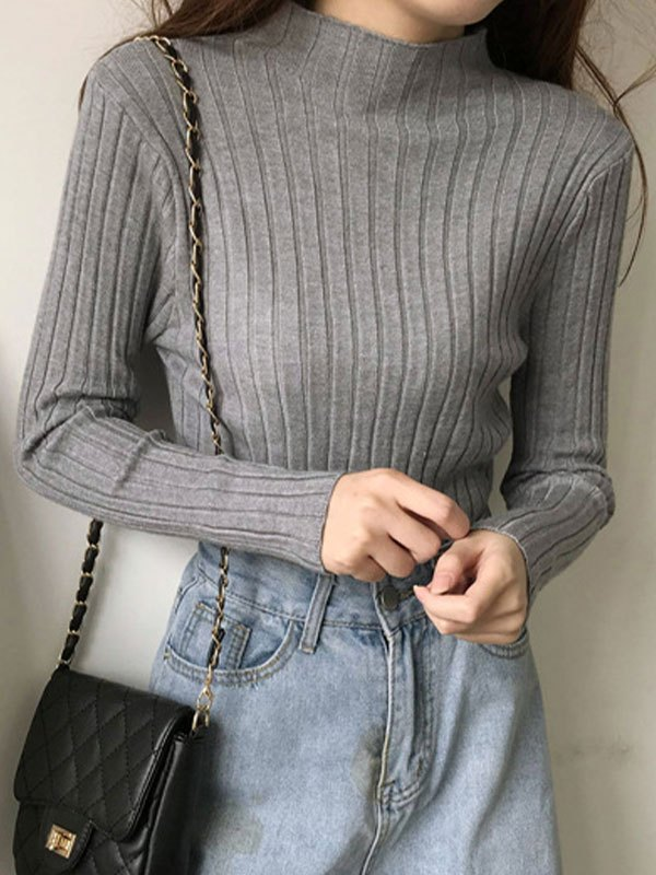 Basic Rib Knit Sweater - Gray ONE SIZE