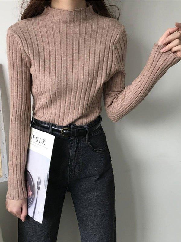 Basic Rib Knit Sweater - Khaki ONE SIZE