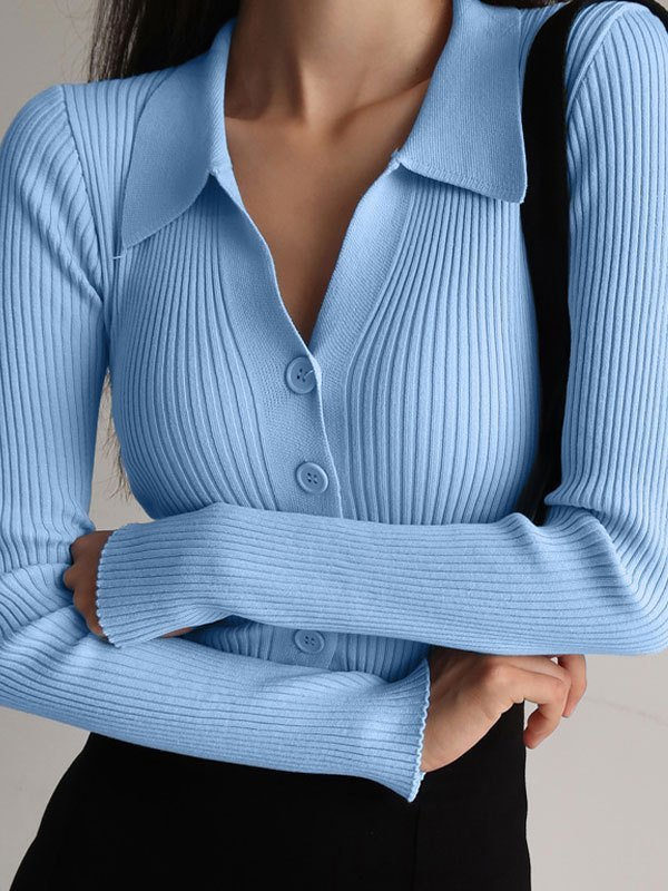 Polo Neck Buttoned Rib Knit Sweater - Blue ONE SIZE