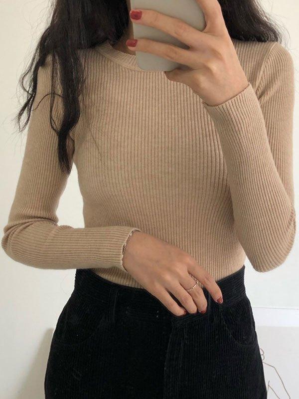 Basic Long Sleeve Rib Knit Sweater - Khaki ONE SIZE
