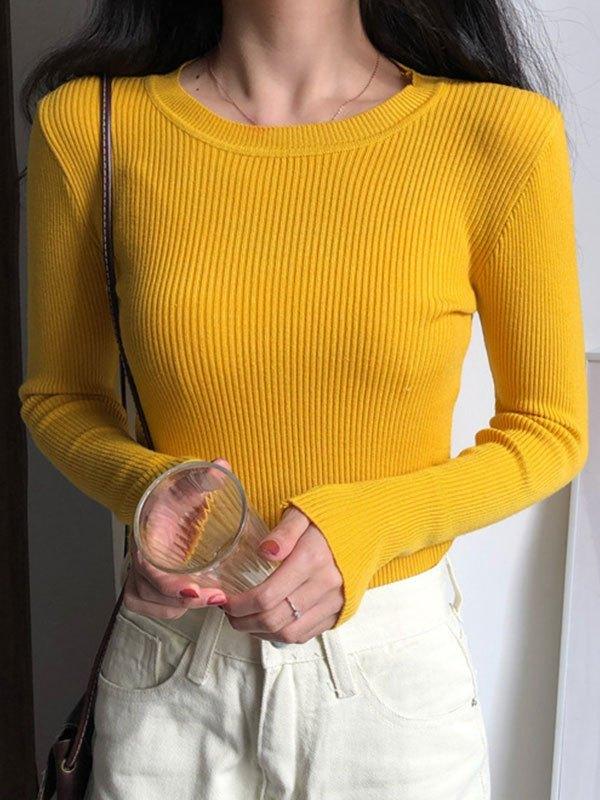 Basic Long Sleeve Rib Knit Sweater - Yellow ONE SIZE