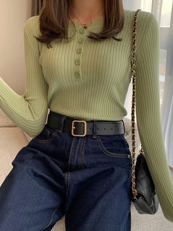 Buttoned Rib Knit Sweater - Green ONE SIZE