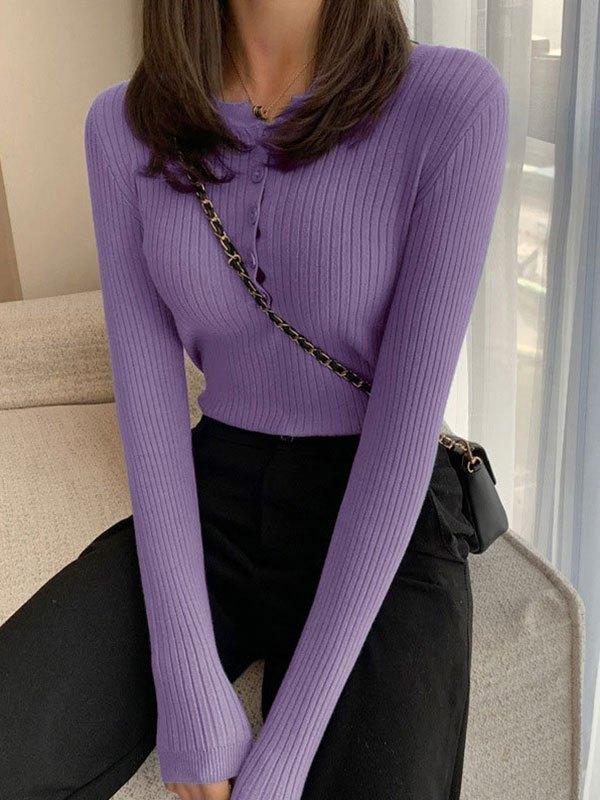 Buttoned Rib Knit Sweater - Purple ONE SIZE
